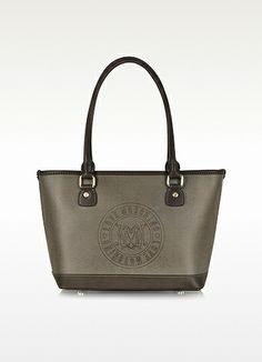 Moschino Signature Dark Gray Fabric Tote Bag