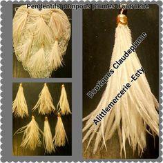 Retrouvez cet article dans ma boutique Etsy https://www.etsy.com/be-fr/listing/506318880/pendentifs-pompons-plumes-dautruche-ecru
