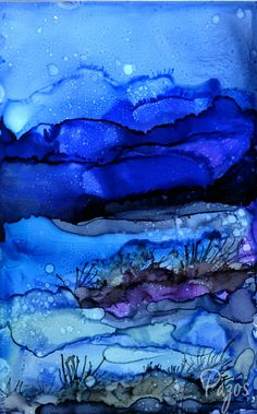 Bluescape by Maria Pazos Alcohol Inks See the scarf being made by VIDA at http://www.shopvida.com/collections/maria-pazos