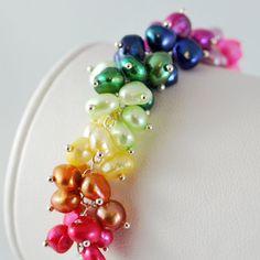 Cluster Bracelet Rainbow Genuine Freshwater Pearl by livjewellery
