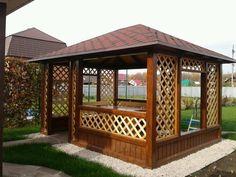 Backyard Gazebo, Garden Gazebo, Backyard Sheds, Village House Design, Village Houses, Wooden Summer House, Mobile Home Porch, Garden Ladder, Building A Trellis