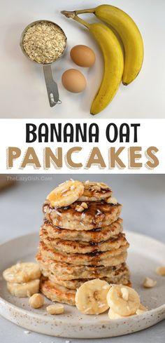 Clean Eating Breakfast, Vegetarian Breakfast, Simple Healthy Breakfast Recipes, Banana Breakfast Recipes, Easy Healthy Smoothie Recipes, Healthy Kids, Banana Oatmeal Pancakes, Healthy Banana Pancakes, Baked Oatmeal