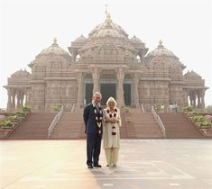 Pin for Later: The Royal Family's Travel Album India Prince Charles and Camilla, Duchess of Cornwall, posed for pictures outside the Akshardham Temple on Nov. London In August, Best Helicopter, Camilla Duchess Of Cornwall, Photos Of Prince, Prince Charles And Camilla, Visit India, Royal Life, Windsor Castle, Westminster Abbey