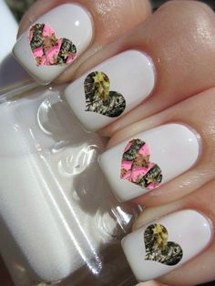 Camouflage Heart nail decals on Etsy, $4.50