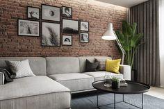 The Best 2019 Interior Design Trends - Interior Design Ideas Living Room Decor Cozy, Living Room Interior, Home Living Room, Living Room Designs, Living Room Brick Wall, Apartment Interior, Home Interior, Interior Design, Loft Design