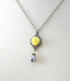 Simple Gray and Yellow Wedding Flower Necklace