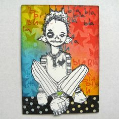 Artwork created by Juile Steed using rubber stamps designed by Daniel Torrente for Stampotique Originals