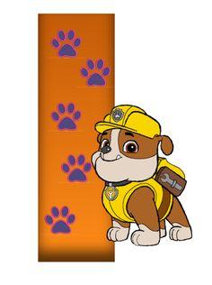 I paw patrol Rubble Paw Patrol, Paw Patrol Party, Paw Patrol Birthday, Baby Boy Birthday, 3rd Birthday, Birthday Party Themes, Wooden Letters, Letters And Numbers, Puppy Party