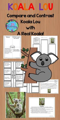 Koala Lou by Mem Fox is a delightful story of a koala and her mother's love and this activity uses paired texts to compare and contrast Koala Lou with a real koala! It includes: 7 vocabulary graphic organizers KWL Chart A fun comprehension interactive p Kindergarten Teachers, Kindergarten Activities, Classroom Activities, Classroom Ideas, First Grade Science, Teaching First Grade, Vocabulary Graphic Organizer, Graphic Organizers, Vocabulary Flash Cards