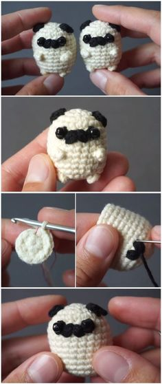 Häkeln Sie Baby Mops Amigurumi - Crochet&Knit - Leads For Amigurumi Crochet Gratis, Crochet Amigurumi, Amigurumi Patterns, Crochet Toys, Knit Crochet, Knitting Patterns, Crochet Patterns, Crochet Ideas, Crochet Things