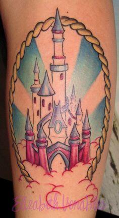 Disney castle tattoo by Liz Venom WIP by *LizVenom on deviantART Disney Castle Tattoo, Disney Tattoos, Tattoo Sketches, Disney Love, I Tattoo, My Little Pony, Old School, Tatting, Body Art