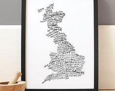 A4 British Food Map