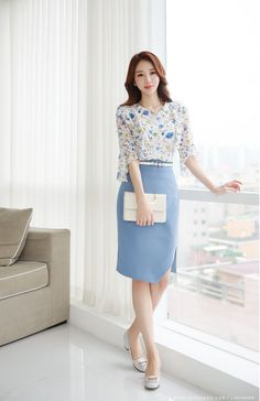 Romantic & Trendy Looks, Styleonme Classy Business Outfits, Classy Outfits, Cool Outfits, Ulzzang Fashion, Korean Fashion, Lady Like, Sunday Dress, Corporate Attire, Elegant Outfit
