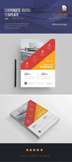 Buy Corporate Flyer Template by PantonStudio on GraphicRiver. Corporate Flyer Template Corporate Flyer Template Design is very easy to use and change text, color, size, look and . Psd Flyer Templates, Business Flyer Templates, Flyer Layout, Brochure Layout, Corporate Brochure, Business Brochure, 100 Free Fonts, Leaflet Design, Marketing Flyers