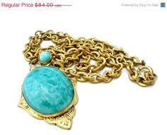 ON SALE Rare Art Nouveau Lavalier Necklace Green Mottled Rhinestone