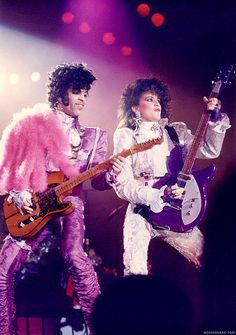 Holy cow is this a great colorful PR Tour pic or what?! Prince and Wendy, Purple Rain tour era