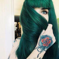 #dark #green #long #straight #dyed #hair