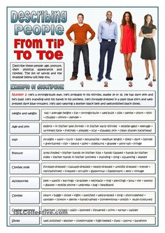 DESCRIBING PEOPLE FROM TIP TO TOE - VOCABULARY: