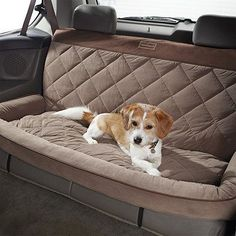 """Quilted Bolster Backseat Car Protector - Frontgate Back Seat Protector with Bolster (63736): 54""""W x 23""""D x 5""""H,    7 lbs. Seat area: 54"""" x 19"""" Back: 54"""" x 26"""""""
