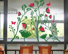 Window Sticker Berry Blossoms window film window tattoo glass sticker window art window décor window decoration window picture Color: pink #WindowStickersandFilms