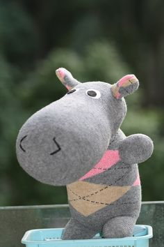 Handmade Large Hippo stuffed animal toys  little by Toyapartment, $19.80