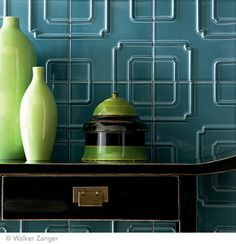 Ceramic Tile (Imperial Pattern in Ming Blue) Studio Moderne is a collection of ceramic tile and stone created for Walker Zanger by interior designer Michael Berman. Inspired by Hollywood Regency, Art Deco and Classic Modernism Diy Design, Art Of Seduction, Wall Treatments, Tile Patterns, Style At Home, Wall Tiles, 3d Tiles, Geometric Tiles, Decoration