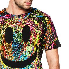 Multi splattered GRIN T-SHIRT, hand painted here in the COUCHUK Studio in a rainbow spectrum of UV REACTIVE shades. gABRIEL X
