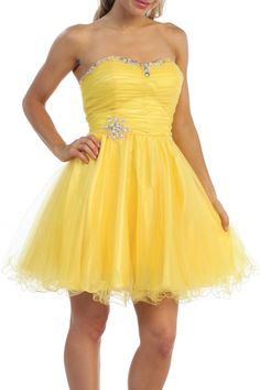 Yellow Sweetheart Neckline Short Prom Cocktail Dress