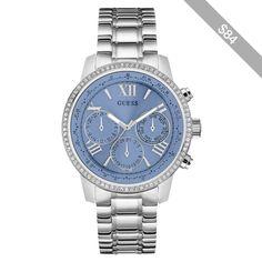 GUESS Silver-Tone and Blue Feminine Classic Sport Watch