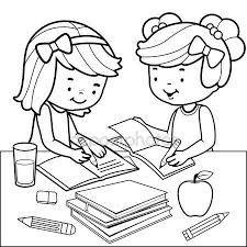Resultado De Imagen Para Ninos Haciendo Las Tareas Para Colorear Derechos De Los Ninos Educacion Dibujos Imagenes Para Colorear Ninos