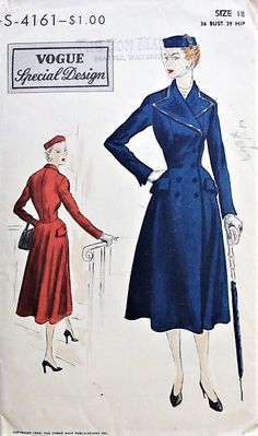 1950s CLASSY Double Breasted Coat-Dress Vogue Special Design 4161 Bust 36 Vintage Sewing Pattern