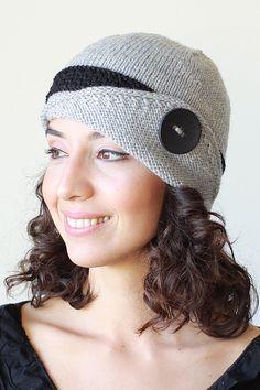 Womens knit hat, Lucy Hat, Grey Winter beanie for women, Hand knitted hat women, Grey Ear flap hat, Knit Beanie Hat