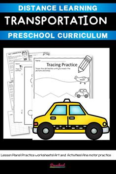 This Transportation Preschool packet is a wonderful way for your preschool or pre-k kids to work on basic literacy and math and fine motor skills. These no-prep printables are great for distance learning or in class centers and stations. Preschool Curriculum, Preschool Printables, Preschool Worksheets, Preschool Learning, Homeschool, Teaching, Everything Preschool, Transportation Activities, Toddler Age