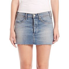 McGuire Emile Denim Mini Skirt ($210) ❤ liked on Polyvore featuring skirts, mini skirts, apparel & accessories, bluebell, long denim skirts, mcguire, denim skirt, short skirts and short miniskirt