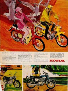 Honda motorcycle ad from the 1960s