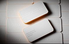 White Simple Letterpress Business Card With Rounded Edge - business card design - minimal - embossed