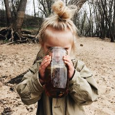 coverme-upp: johnnaholmgren: Crushing that cold with a jar full of chamomile and sporting better top knots than I'll ever have. My daughter