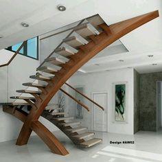 Detalles que marcan la diferencia: Escalones se apoyan en una moderna viga de madera en curva que empalma con techo. Ve mas #ideas para #remodelar en: arquitecturacreativa.blogspot.com Siguenos...