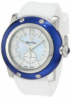 Glam Rock Women's GRD30012-WHTRB Miami Blue MOP and White Dial White Silicone Watch Glam Rock. $355.50. Swiss quartz movement. Water-resistant to 100 m (330 feet). Mineral crystal with sapphire coating; polished stainless steel case with blue ion-plated cover; white silicone strap with alligator pattern. Blue mother of pearl and white dial with silver tone hands, arabic numeral 12 and hour markers; luminous; stainless steel bezel and crown with blue cabochon. 60 second subdial