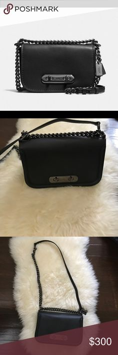 b967847d7f Glovetanned leather in black gunmetal. ✂ x x - drop at longest ❌does not  come with dustbag Coach Bags
