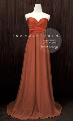 TDY Burnt orange Chiffon Overlay Skirt for Maxi Long Convertible Dress / Infinity Dress / Wrap Dress / Bridesmaid Autumn Dress Burnt Orange Bridesmaid Dresses, Burnt Orange Dress, Long Bridesmaid Dresses, Dress Prom, Prom Dresses, Wedding Dresses, Bridesmaid Ideas, Bride Dresses, Bridesmaids