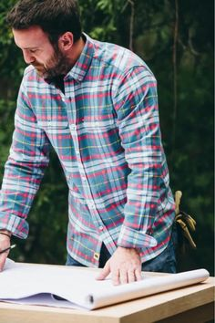 Men's long sleeve, plaid, button up, flannel shirt. No rules on how to wear it. We go for casual style so we outfit it with jeans and boots. But your shirt, your call. Great gifts for guys | dads | men who have everything. Lots of colors available — red, green, blue, you name it. Great Gifts For Guys, Best Gifts For Men, Red Green, Blue, Men's Shirts, Fishing Shirts, Flannel Shirt, Jeans And Boots, Dads