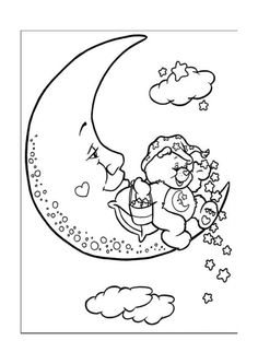 Here are the Amazing Care Bear Coloring Sheets Colouring Pages. This post about Amazing Care Bear Coloring Sheets Colouring Pages was posted . Moon Coloring Pages, Printable Coloring Pages, Adult Coloring Pages, Coloring Sheets, Coloring Books, Care Bears, Coloring Pages For Kids, Kids Coloring, Colorful Pictures