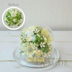 ウエディングブーケや生花花束を保存加工は花工房ラミディで。 ブーケの生花をドライフラワー加工しガラスドーム、3D立体額に保存。