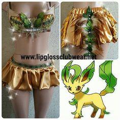 Pokemon Leafeon Inspired Outfit Rave Wear- Theme Wear- Dance - Costume - Halloween Costume - Custom - Theatre Costume