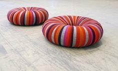 inner tube wrapped in colourful ribbons of recycled textiles used for upholstery