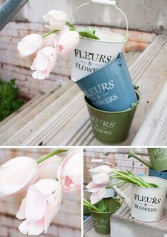 Vintage Fleurs Tin Buckets and Watering Cans Tin Buckets, Watering Cans, Canning, Flowers, Vintage, Decor, Decoration, Home Canning, Florals