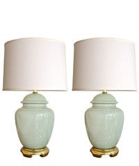 Vintage Pair Of Celadon Ceramic Table Lamps, Great Color, Would Do Pleated  Linen Shades