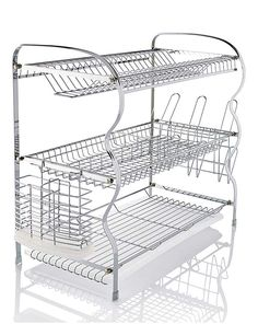 Make washing up a breeze with this dish rack. The bottom tier is flat, suitable for bowls, mugs and other cooking implements. Kitchen Rug, Apartment Kitchen, Kitchen Decor, Modern Kitchen Design, Interior Design Kitchen, Wooden Sofa Set, Studio Apartment Decorating, Diy Kitchen Storage, Dish Racks