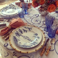 ... Bamboo accents and a lovely hand embroidered table cloth we brought home from Portugal. #tableware #tablescapes #tablesettings #juliska #bamboo #toile & Juliska